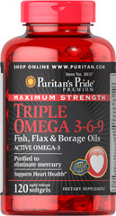 Omega 3-6-9 Hør, Fisk, Hjulkrone 1200 mg 120 Softgels